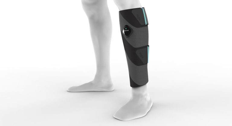 ElastiMed's active compression stocking mimics rhythmic calf muscle contractions and stimulates blood flow. (PRNewsfoto/ElastiMed Ltd.)